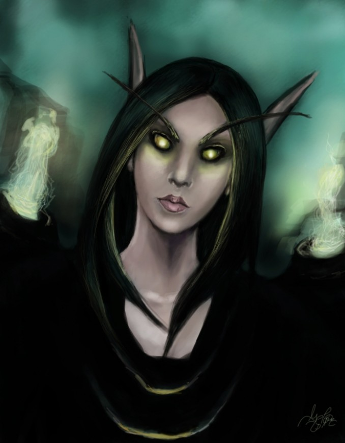 Digital painting Blood elf - Warlock