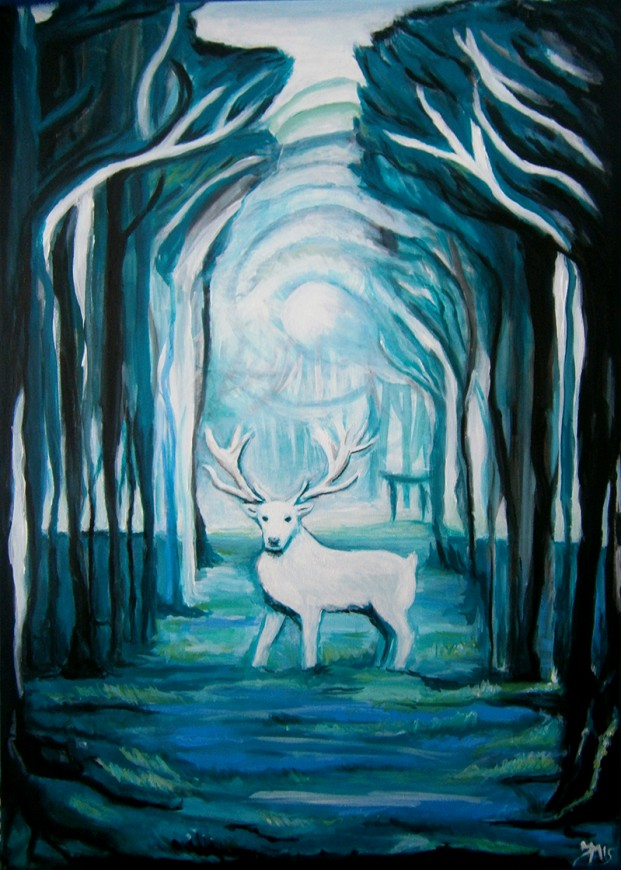 Acrylic painting on canvas Lord of the forest