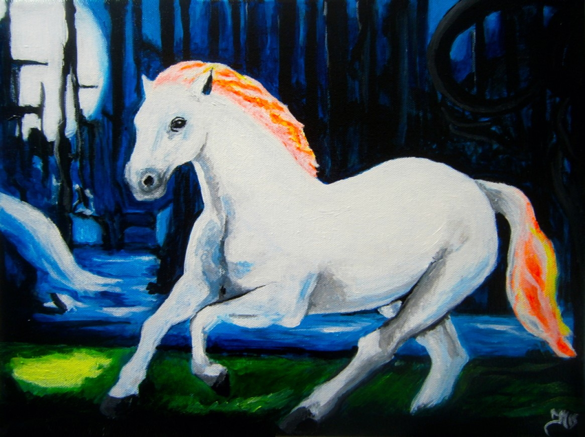 Acrylic painting on canvas Magical horse